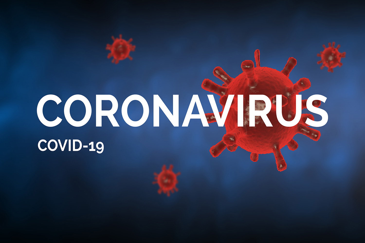 """Covid-19 concept image with """"Coronavirus covid-19"""" text against a blue background. Red viruses made with rendering 3D - computer generated image."""